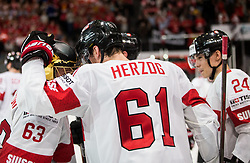Leonardo Genoni of Switzerland and Fabrice Herzog of Switzerland celebrate after winning during the 2017 IIHF Men's World Championship group B Ice hockey match between National Teams of Canada and Switzerland, on May 13, 2017 in AccorHotels Arena in Paris, France. Photo by Vid Ponikvar / Sportida