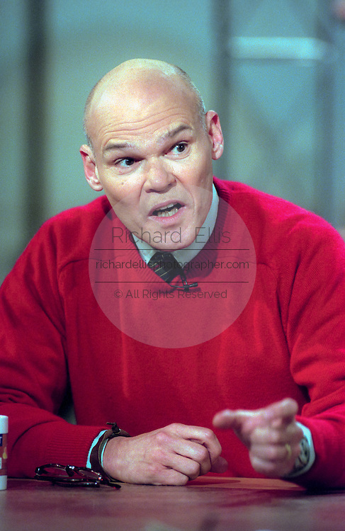 James Carville commentator and Democratic political consultant discusses the possible Senate trial of President Clinton following impeachment during NBC's Meet the Press December 20, 1998 in Washington, DC.