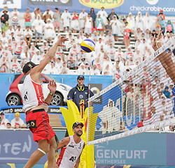 28.07.2016, Strandbad, Klagenfurt, AUT, FIVB World Tour, Beachvolleyball Major Series, Klagenfurt, Herren, im Bild Clemens Doppler (1, AUT), Alexander Horst (2, AUT) // during the FIVB World Tour Major Series Tournament at the Strandbad in Klagenfurt, Austria on 2016/07/28. EXPA Pictures © 2016, PhotoCredit: EXPA/ Gert Steinthaler