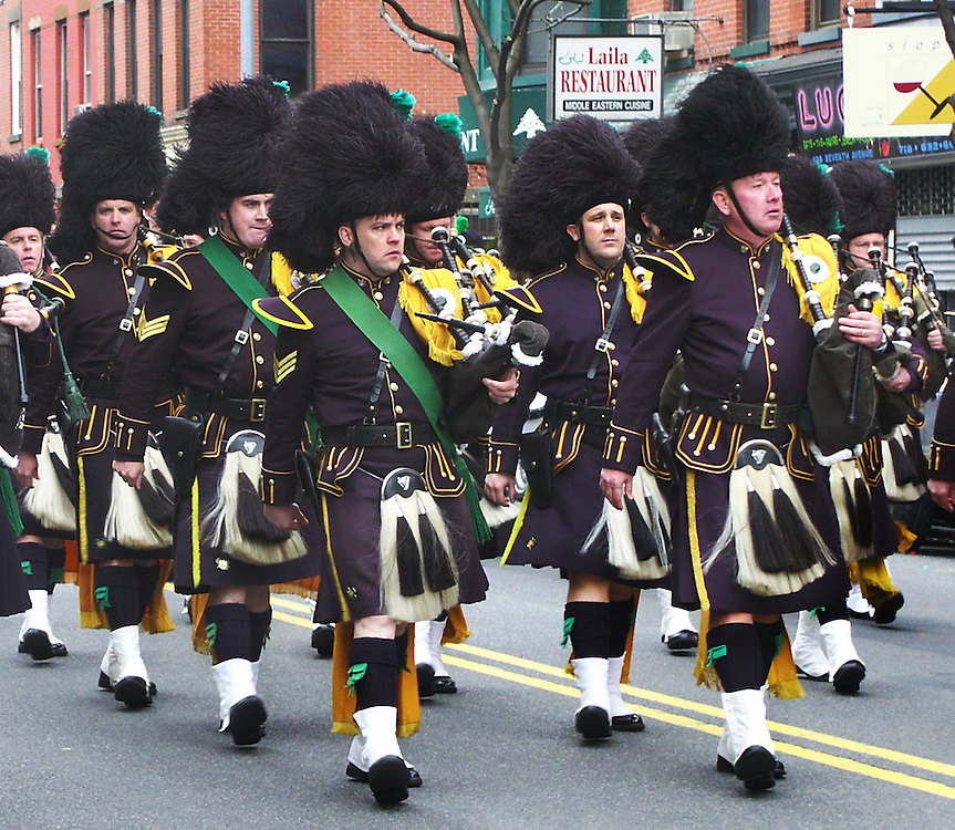 NYPD Irish marching band at a local Saint Patrick's Day Parade.