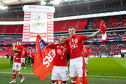 Korey Smith and Aden Flint celebrate after Bristol City win the match 2-0 - Photo mandatory by-line: Rogan Thomson/JMP - 07966 386802 - 22/03/2015 - SPORT - FOOTBALL - London, England - Wembley Stadium - Bristol City v Walsall - Johnstone's Paint Trophy Final.