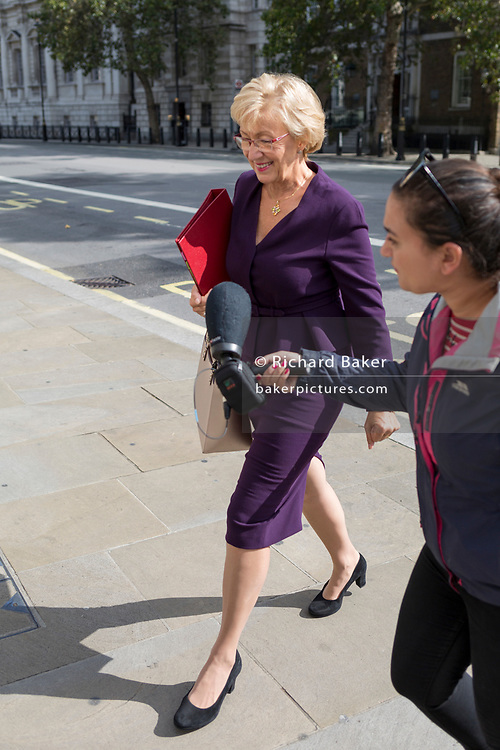 As Secretary of State for Business, Energy and Industrial Strategy, Andrea Leadsome MP arrives at the Cabinet Office on Whitehall, the location of daily Brexit contingency planning meetings (codenamed Yellowhammer, in government departments), on 19th August 2019, in London, England.