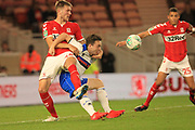 Matty Gillam is challenged in the area during the second round of the Carabao EFL Cup match between Middlesbrough and Rochdale at the Riverside Stadium, Middlesbrough, England on 28 August 2018.