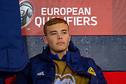 Ryan Porteous (#23) of Scotland on the bench before the UEFA European 2020 Group I qualifier match between Scotland and Kazakhstan at Hampden Park, Glasgow, United Kingdom on 19 November 2019.