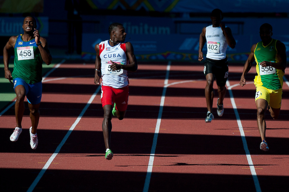Oct. 25, 2011 - Guadalajara, Mexico - (from left) Anderson Henriques of Brazil, Williams Collazo of Cuba, Richard Richardson of Antigua and Barbuda, and Erison Hurtault of Dominica, run in the men's 400 meter semifinals during athletics at Telmex Athletics Stadium on day eleven of the XVI Pan American Games...©Benjamin B Morris