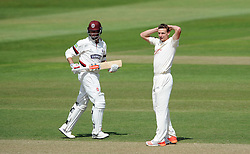 Dejection for Nottinghamshire's Will Gidman as Somerset's Marcus Trescothick adds more runs to his sides total. - Photo mandatory by-line: Harry Trump/JMP - Mobile: 07966 386802 - 16/06/15 - SPORT - CRICKET - LVCC County Championship - Division One - Day Three - Somerset v Nottinghamshire - The County Ground, Taunton, England.