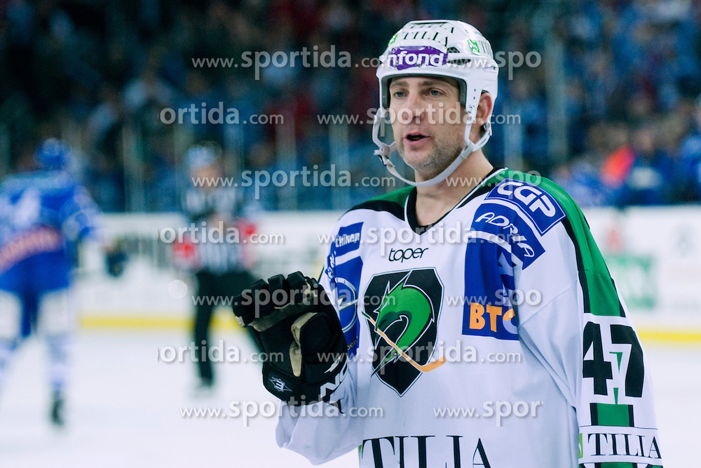 Jeff Tory (HDD Tilia Olimpija, #47) during ice-hockey match between KHL Medvescak Zagreb and HDD Tilia Olimpija in 42nd Round of EBEL league, on Januar 25, 2011 at Arena Zagreb, Zagreb, Croatia. (Photo By Matic Klansek Velej / Sportida.com)