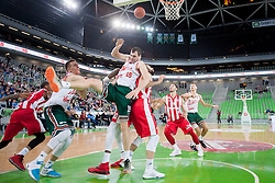 Sava Lesic #15 of KK Union Olimpija during basketball match between KK Union Olimpija Ljubljana and KK Crvena zvezda Telekom (SRB) in 19th Round of ABA League 2015/16, on January 11, 2016 in Arena Stozice, Ljubljana, Slovenia. Photo by Urban Urbanc / Sportida