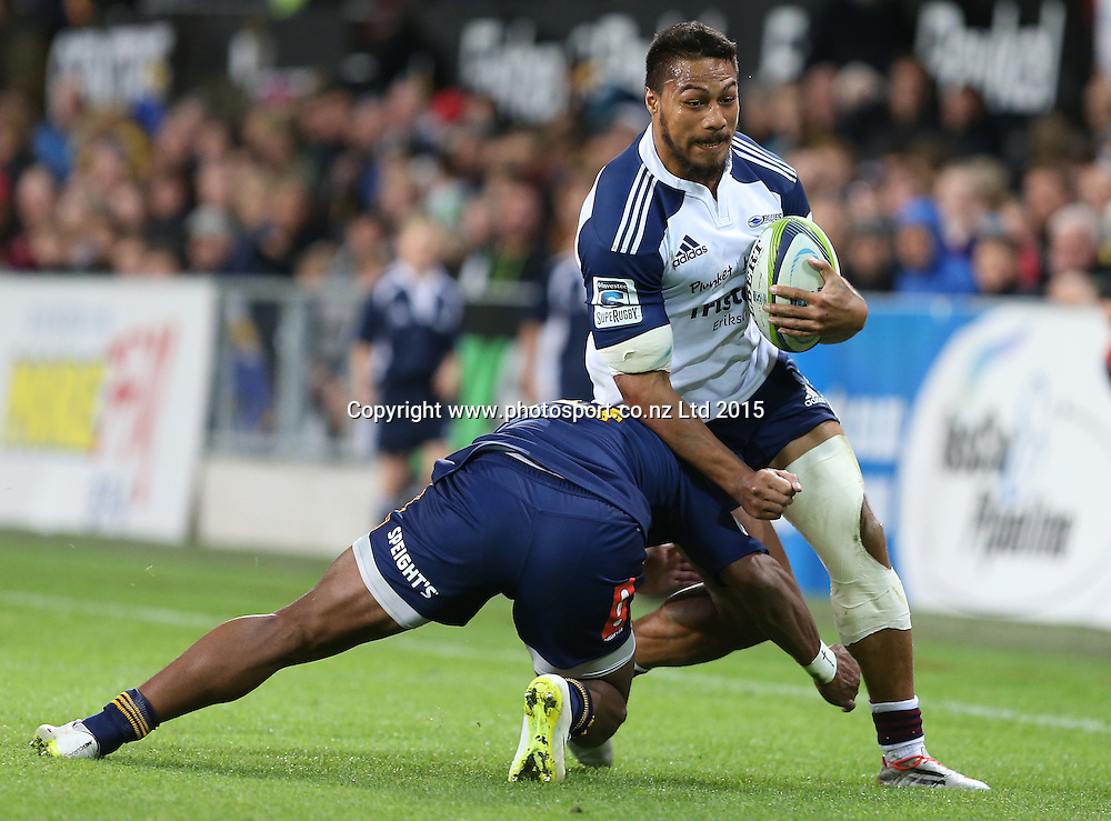Blues George Moala during the Super 15 rugby match between the Highlanders and the Blues at Forsyth Barr Stadium, Dunedin, Saturday, April 18, 2015. Photo: Dianne Manson / www.photosport.co.nz