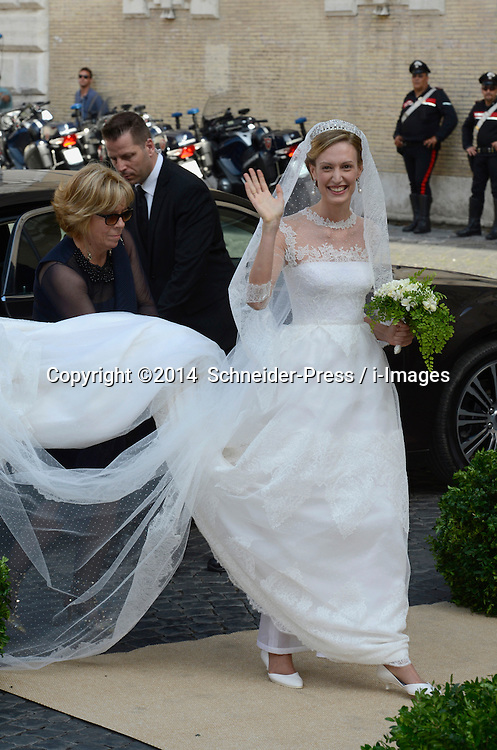Image ©Licensed to i-Images Picture Agency. 05/07/2014. Rome, Italy.  Maria Rosboch von Wolkenstein arrives for her wedding to Prince Amedeo of Belgium at Basilica Santa Maria in Trastevere. Picture by  Schneider-Press / i-Images<br /> UK&USA ONLY