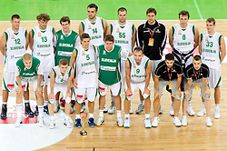 Players of Slovenia with Trophy for 3rd place after the friendly basketball match between National teams of Slovenia and Bosnia and Hercegovina for third place at Adecco Ex-Yu Cup 2011 as part of exhibition games before European Championship Lithuania 2011, on August 9, 2011, in Arena Stozice, Ljubljana, Slovenia. Slovenia defeated BiH 59-52. (Photo by Vid Ponikvar / Sportida)