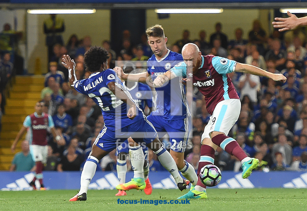 James Collins of West Ham United scores their first goal during the Premier League match at Stamford Bridge, London<br /> Picture by Daniel Hambury/Focus Images Ltd +44 7813 022858<br /> 15/08/2016