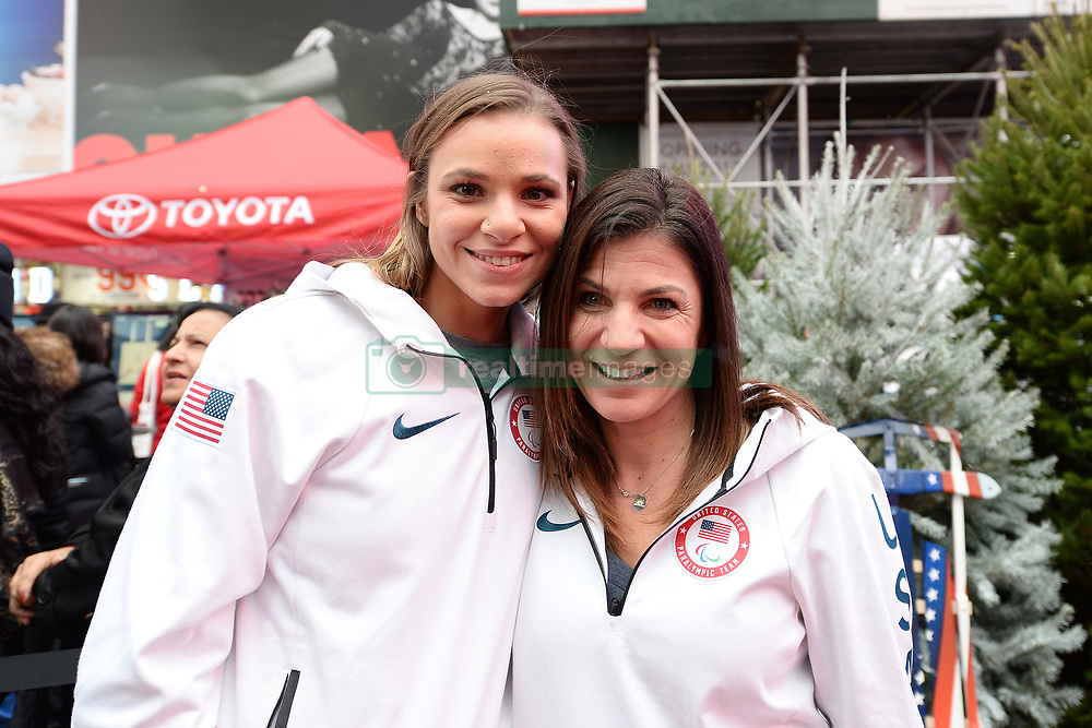 Skiing Paralympians Oskana Masters and Danelle Umstead, pose during the Team USA Winter Fest  - 100 day countdown to the 2018 Winter Olympics, in Times Square, New York, on November 1, 2017. (Photo by Anthony Behar/Sipa USA)