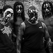 The members of Demogoroth Satanum, South Africa's first all-black metal band. All of them were born and bred in Soweto. Johannesbrug, South Africa. April 2017. © Miora Rajaonary / Native Agency
