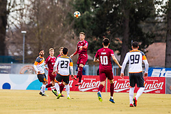 Mlakar Tilen of Triglav Kranj and Crnov Ivan of Triglav Kranj  vs Krajnc Alen  of Alumini and Hrovat Mario Lucas  of Aluminij during  during football match between NK Triglav Kranj and NK Aluminij in Round #20 of Prva liga Telekom Slovenije 2018/19, on February 24, 2019 in Sports centre Kranj, Kranj, Slovenia Photo by Matic Ritonja / Sportida