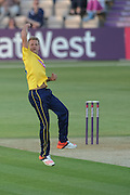 Gareth Berg Celebrates his first t20 wicket for Hampshire during the NatWest T20 Blast South Group match between Hampshire County Cricket Club and Sussex County Cricket Club at The Ageas Bowl, Southampton, United Kingdom on 19 June 2015. Photo by David Vokes.