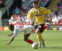 Photo: Tony Oudot.<br /> Watford v Southampton. Coca Cola Championship. 16/09/2007.<br /> Adam Johnson of Watford goes past Nathan Dyer of Southampton