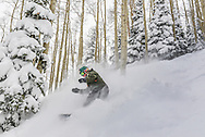 Marshall Workman finds a stash of fresh powder at Aspen Highlands.