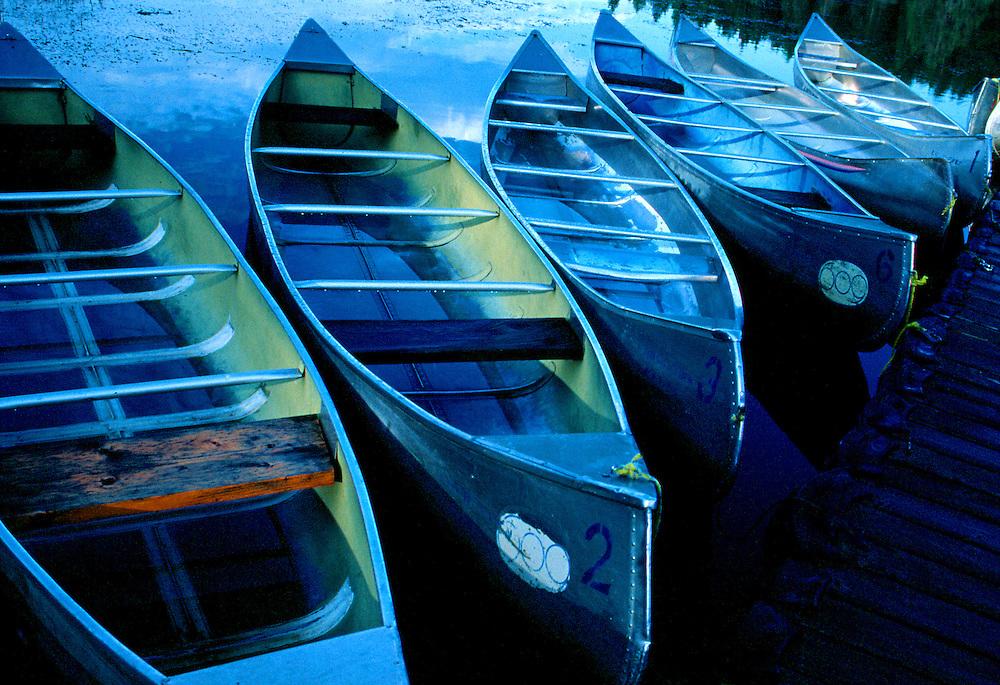 Canoes in water at dusk, Cypress Hills Park, Saskatchewan