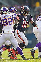 25 November 2012: Defensive end (90) Julius Peppers of the Chicago Bears in game action against the Minnesota Vikings during the first half of the Bears 28-10 victory over the Vikings in an NFL football game at Soldier Field in Chicago, IL.