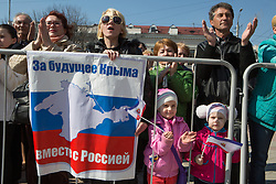 Crimea one day before the referendum. People enjoy the music and performs in a Pro Russian rally  at Simferopol's Lenin Square. Simferopol, . Saturday, 15th March 2014. Picture by Daniel Leal-Olivas / i-Images
