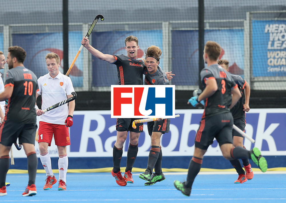 LONDON, ENGLAND - JUNE 24:  Mirco Pruijser of the Netherlands celebrates scoring their teams first goal during the semi-final match between England and the Netherlands on day eight of the Hero Hockey World League Semi-Final at Lee Valley Hockey and Tennis Centre on June 24, 2017 in London, England.  (Photo by Alex Morton/Getty Images)