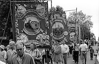 Barnsley Area Road Transport and Mines Rescue branch banners. 1994 Yorkshire Miners Gala. Doncaster.