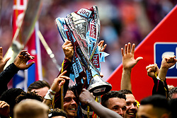 Aston Villa lift the Sky Bet Championship Playoff Final Trophy after defeating Derby County to win promotion to the Premier League - Mandatory by-line: Robbie Stephenson/JMP - 27/05/2019 - FOOTBALL - Wembley Stadium - London, England - Aston Villa v Derby County - Sky Bet Championship Play-off Final