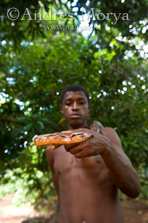 Malagasy Boy holding a Boa, Nosy Be, Madagascar Image by Andres Morya