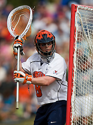 Virginia Cavaliers G Adam Ghitelman (8) in action against Cornell.  The #1 ranked Virginia Cavaliers defeated the #4 ranked Cornell Big Red 14-10 at Klockner Stadium on the Grounds of the University of Virginia in Charlottesville, VA on March 8, 2009.