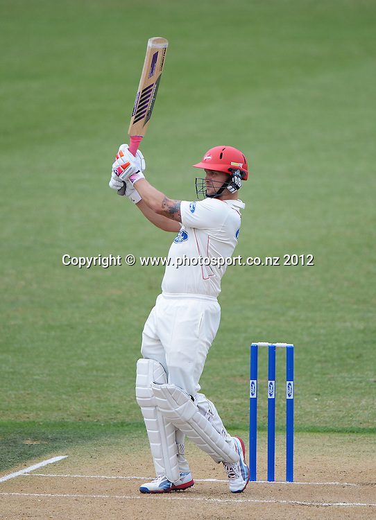 Canterbury's Gareth Andrew batting during his innings of 180 not out. Plunket Shield Cricket, Auckland Aces v Canterbury Wizards at Eden Park Outer Oval. Auckland on Sunday 16 December 2012. Photo: Andrew Cornaga/Photosport.co.nz