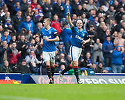 7th April 2018, Ibrox Stadium, Glasgow, Scotland; Scottish Premier League football, Rangers versus Dundee; Kenny Miller of Rangers celebrates after scoring for 1-0