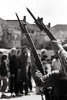 Students face riffles and bayonets when Governor Reagan sent US National guard in to battle protesters over People's Park at University of California in Berkeley 1969