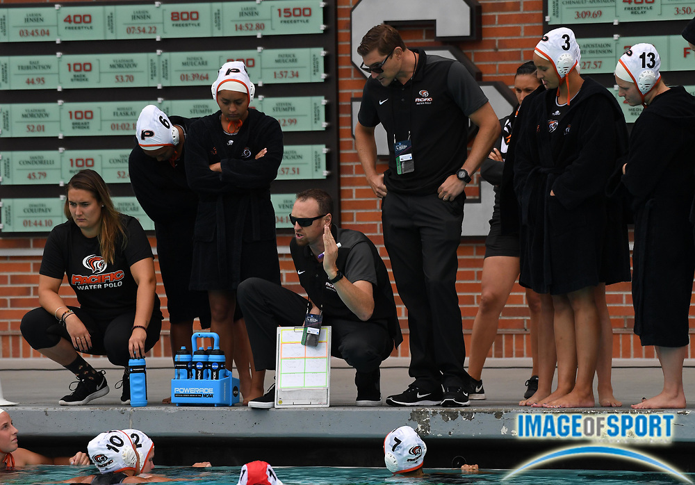 Pacific Tigers coach James Graham reacts during an NCAA college women's water polo quarterfinal game against the UCLA Bruins in Los Angeles, Friday, May 11, 2018. UCLA defeated Pacific, 8-4.