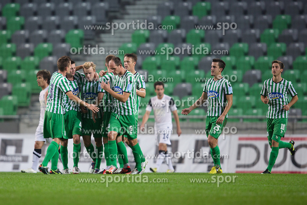 Players of Olimpija celebrate scoring a goal during football match between NK Olimpija and NK Mura 05 in 13th Round of Prva liga NZS 2012/13, on October 6, 2012 in SRC Stozice, Slovenia. (Photo by Matic Klansek Velej / Sportida.com)