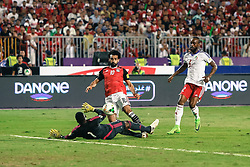 October 8, 2017 - Alexandria, Egypt - Egypt's Mohamed Salah scores first goal during the 2018 World Cup group E qualifying soccer match at the Borg El Arab Stadium in Alexandria, Egypt, Sunday, Oct. 8, 2017. Egypt won 2-1. (Credit Image: © Islam Safwat/NurPhoto via ZUMA Press)