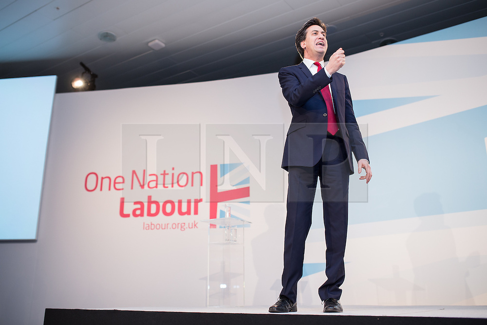 """© Licensed to London News Pictures . 01/03/2014 . London , UK . ED MILIBAND . The Labour Party hold a one day """" Special Conference """" at the Excel Centre in London today (Saturday 1st March 2014) . Photo credit : Joel Goodman/LNP"""