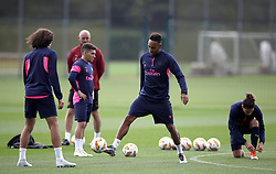 Arsenal's Pierre-Emerick Aubameyang (centre right) during the training session at London Colney, Hertfordshire.