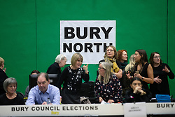 © Licensed to London News Pictures . 12/12/2019. Bury, UK. Preparations at the the count for seats in the constituencies of Bury North and Bury South in the 2019 UK General Election , at Castle Leisure Centre in Bury . Photo credit: Joel Goodman/LNP