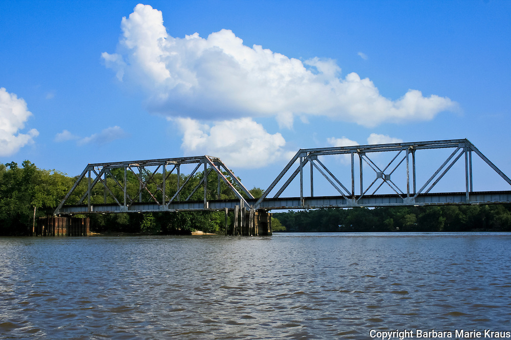 Train trestle over the Altamaha River in Southeast Georgia.