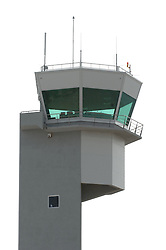 Airport tower on white background