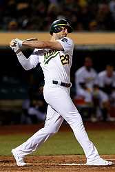 OAKLAND, CA - SEPTEMBER 16: Matt Olson #28 of the Oakland Athletics at bat against the Kansas City Royals during the eighth inning at the RingCentral Coliseum on September 16, 2019 in Oakland, California. The Kansas City Royals defeated the Oakland Athletics 6-5. (Photo by Jason O. Watson/Getty Images) *** Local Caption *** Matt Olson