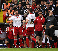 Sheffield United's Chris Morgan replaces Sheffield United's Neil Collins during his testimonial match - Mandatory by-line: Robbie Stephenson/JMP - 26/07/2015 - SPORT - FOOTBALL - Sheffield,England - Bramall Lane - Sheffield United v Newcastle United - Pre-Season Friendly