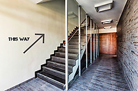 Photo of modern staircase in rental apartment business