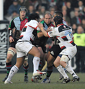 Twickenham, GREAT BRITAIN, Quins Gary BOTHA, find the gap closed by left Cencus JOHNSTON and right Nick LLOYD, during the Guinness Premiership game Harlequins [Quins] vs Saracens at the Stoop, Middx, 22/12/2007 [Mandatory Credit Peter Spurrier/Intersport Images]