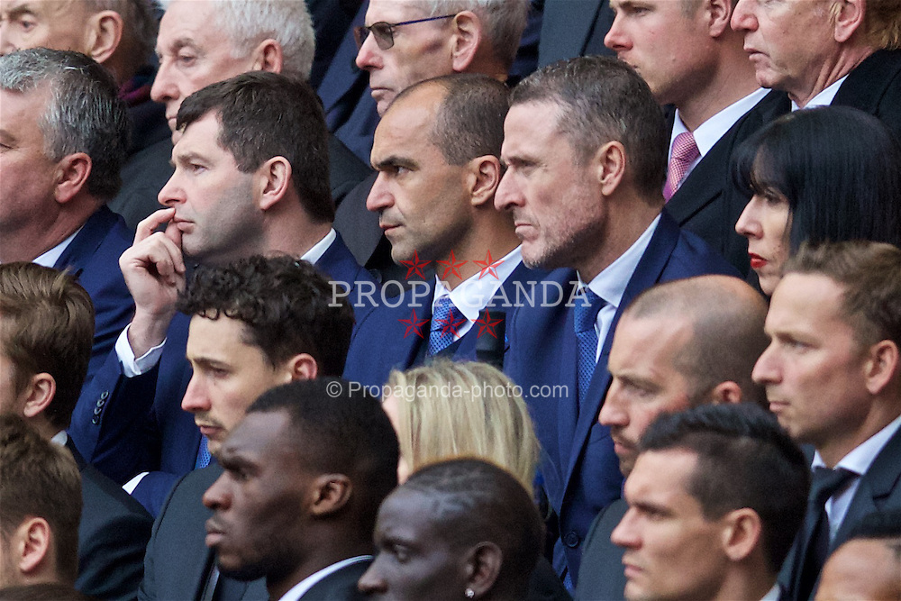 LIVERPOOL, ENGLAND - Friday, April 15, 2016: Everton's manager Roberto Martinez and Chief-Executive Robert Elstone during the 27th Anniversary Hillsborough Service at Anfield. (Pic by David Rawcliffe/Propaganda)