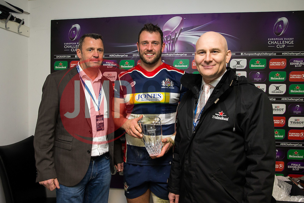 Man of the Match presentation to Luke Arscott of Bristol Rugby - Rogan Thomson/JMP - 11/12/2016 - RUGBY UNION - Ashton Gate Stadium - Bristol, England - Bristol Rugby v Pau - European Rugby Challenge Cup.
