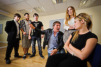 """Selected cast of the stage play """"Stags & Hens' see here in rehearsal. Pictured LtoR Tim Bettridge, Kurt Tobin, Seb Pryboda, Andy Wilson, Madison Coupland, Emily Potter"""
