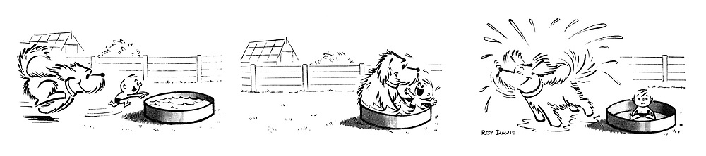 (Dog and little boy diving into a paddling pool)