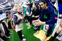 Ziga Pavlin of Slovenian Ice Hockey National team  at visit of children of kindergarten Mojca from Dravlje, Ljubljana during the IIHF World Championship Division 1 Group B tournament, on April 21, 2010, in Hala Tivoli, Ljubljana, Slovenia.  (Photo by Vid Ponikvar / Sportida)